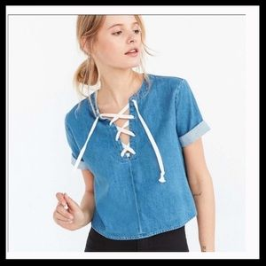Urban Outfitters BDG Chambray Lace-Up Crop Top